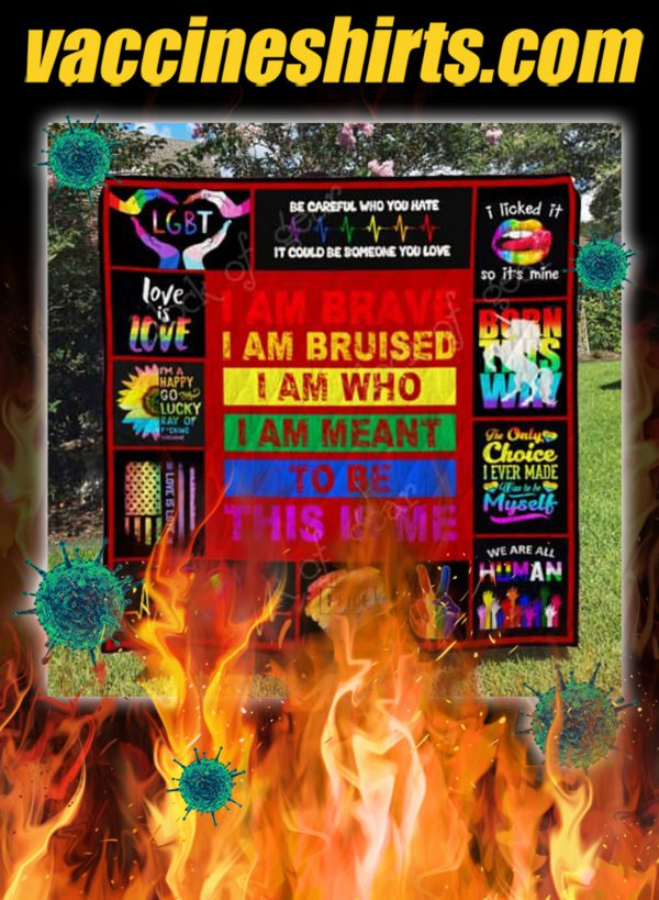 LGBT pride i am brave this is me quilt blanket- twin