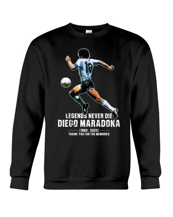 Legends never die Diego Maradona Thank you for the memories shirt 2