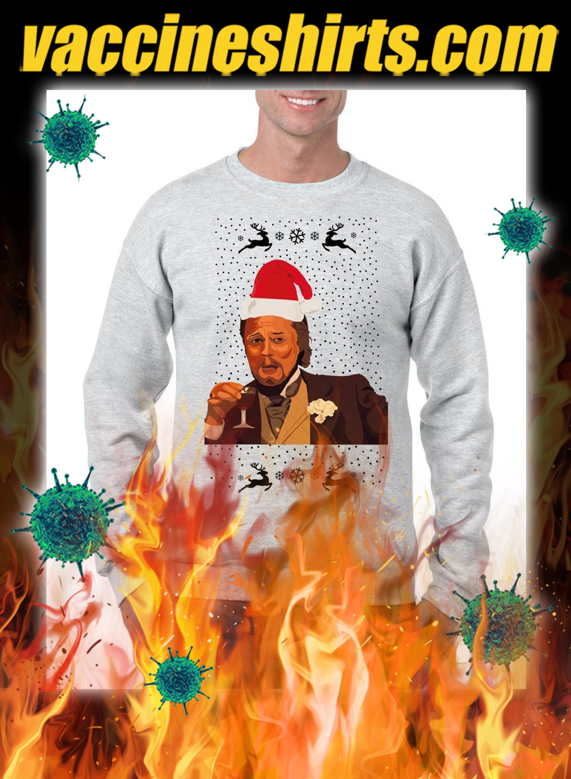 Leonardo DiCaprio Laughing Meme christmas jumper and sweatshirt- grey