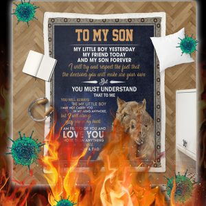 Lion To my son love mom and dad quilt- queen