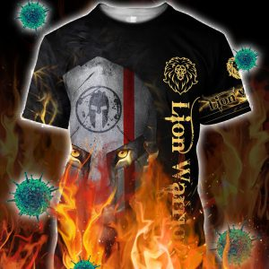 Lion spartan warrior 3d all over printed shirt