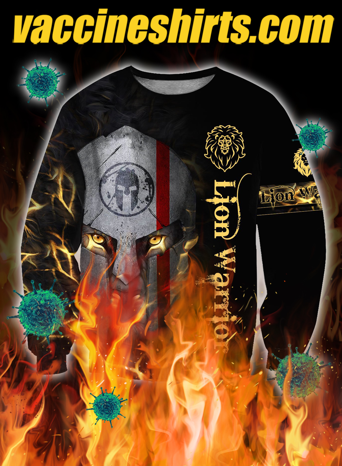 Lion spartan warrior 3d all over printed sweatshirt