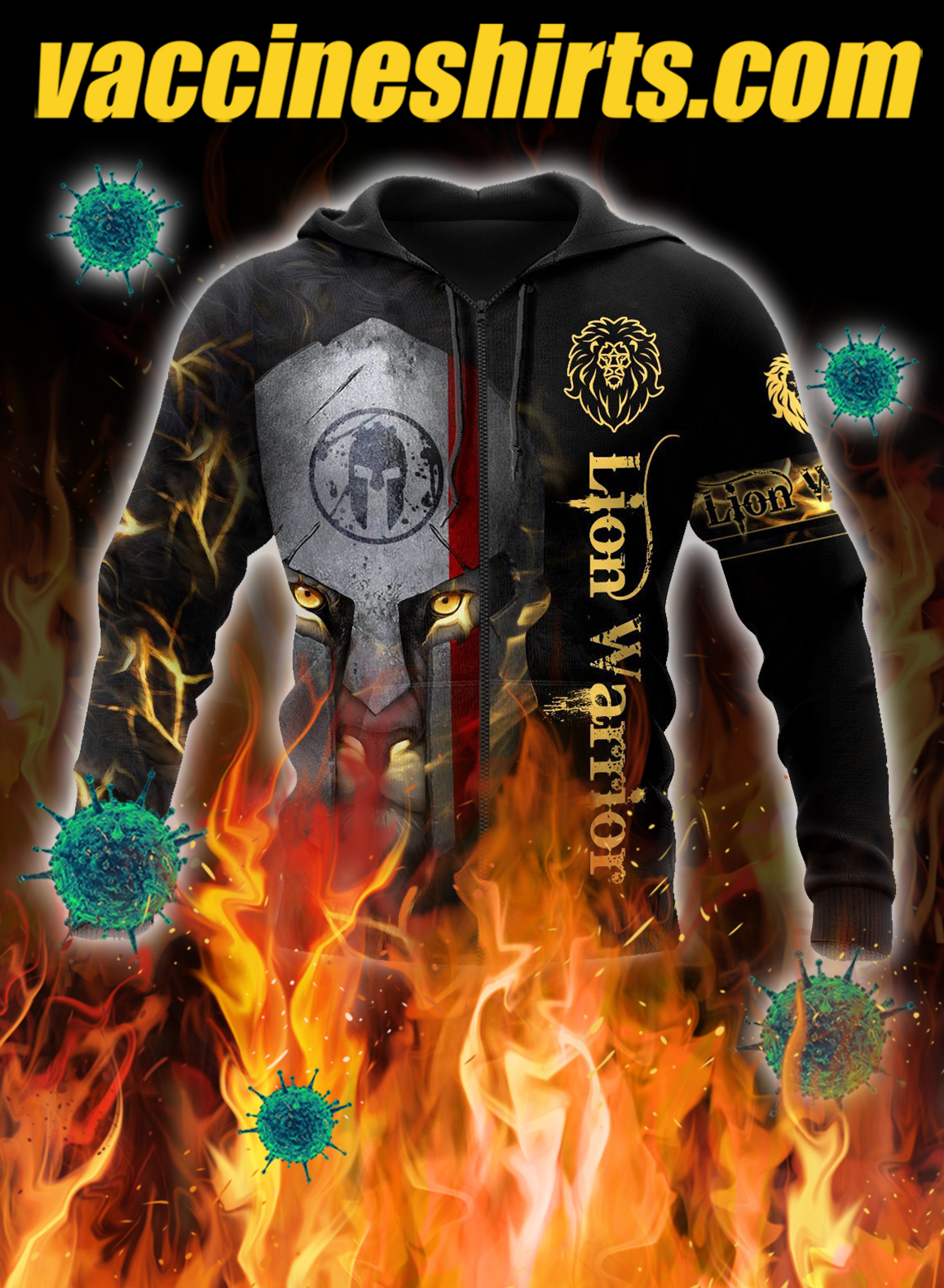 Lion spartan warrior 3d all over printed zip hoodie