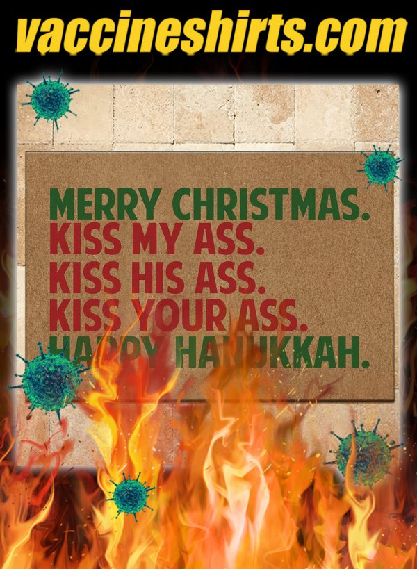 Merry christmas happy hanukkah doormat
