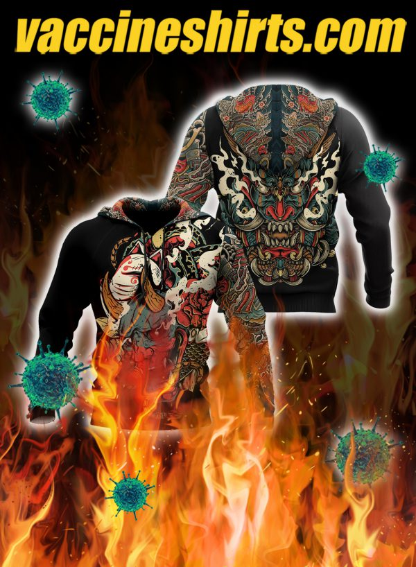 Oni mask tattoo 3d all over printed hoodie