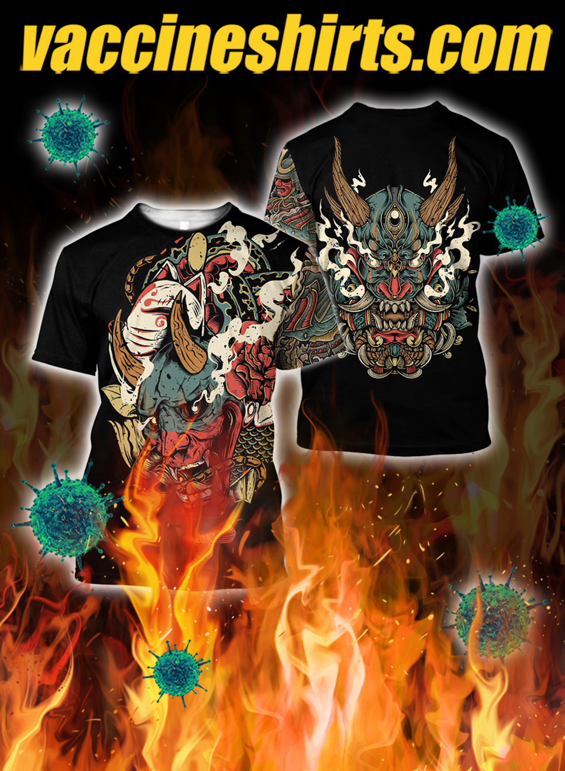 Oni mask tattoo 3d all over printed shirt