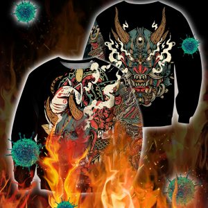 Oni mask tattoo 3d all over printed sweatshirt