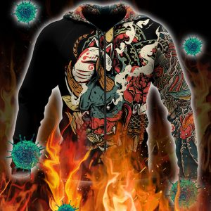 Oni mask tattoo 3d all over printed zip hoodie