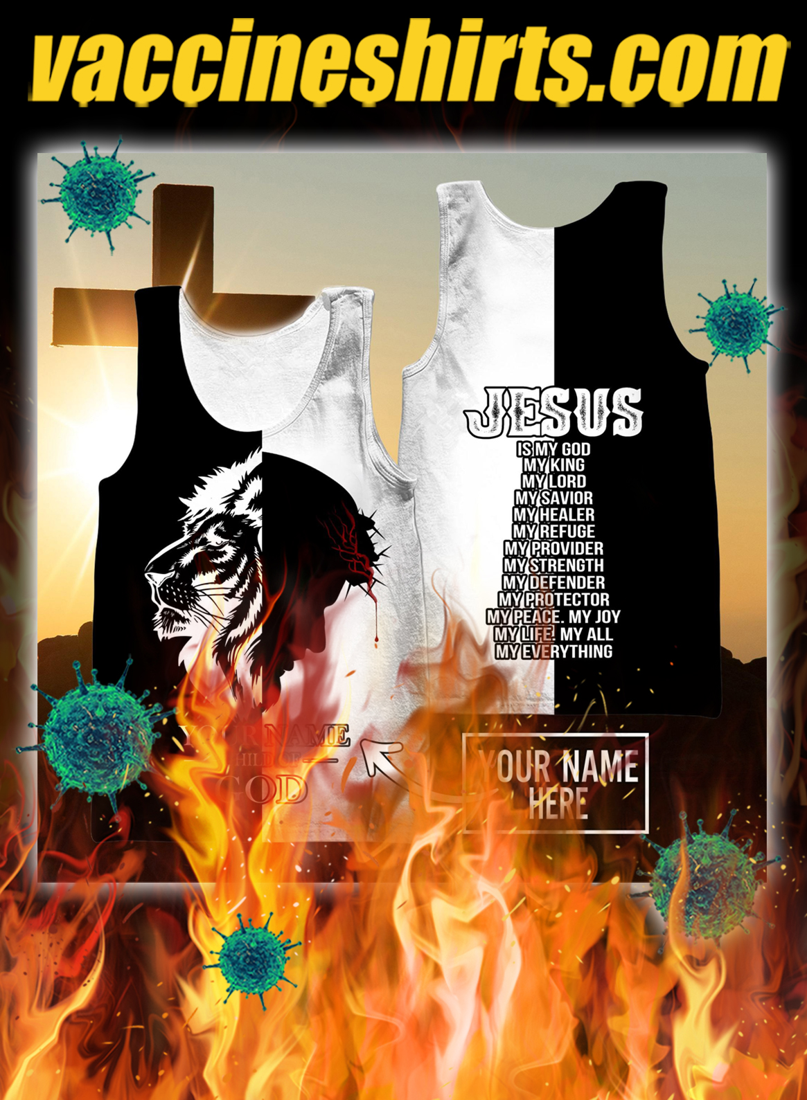 Personalized customize name Jesus the king child of god 3d tank top