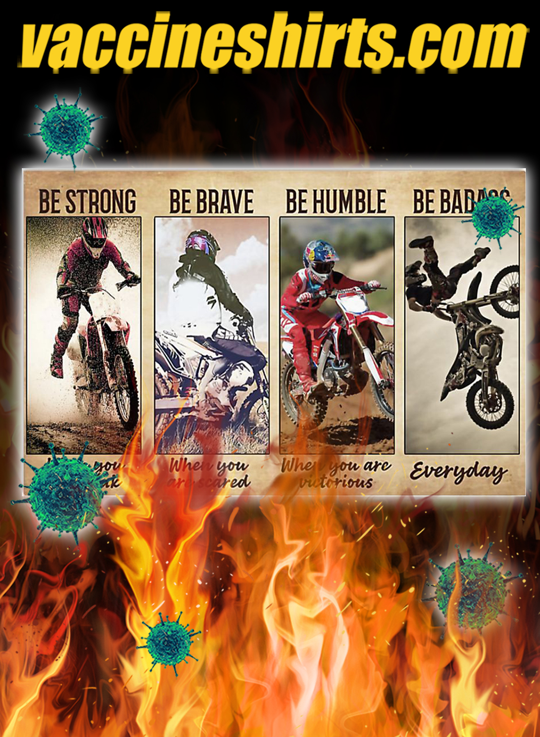 Picture Motocross be strong be brave be humble be badass poster- A4