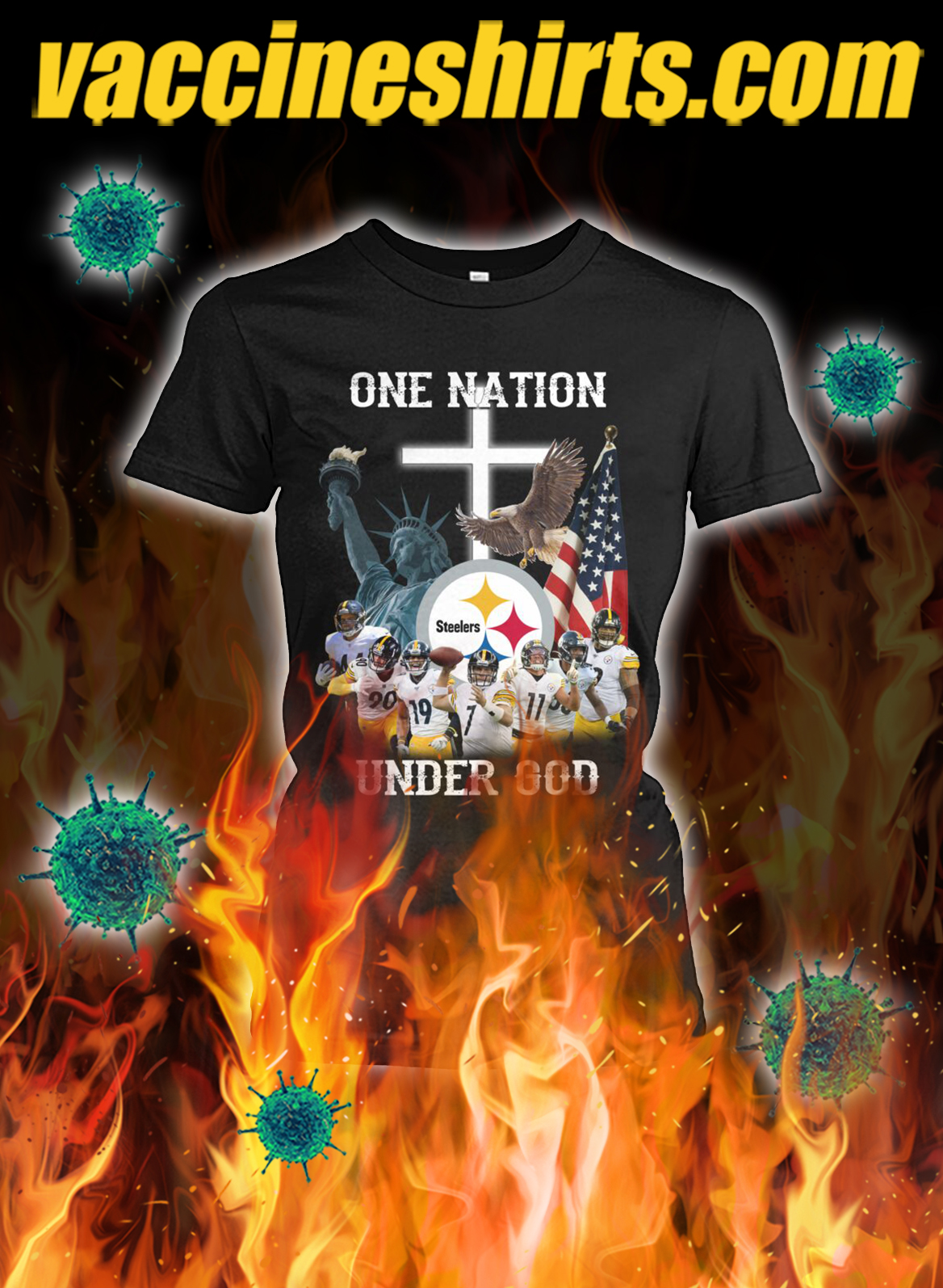 Pittsburgh steelers one nation under god lady shirt