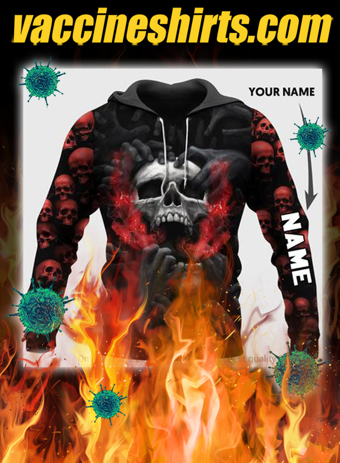 Red head skull screaming personalized custom name 3d hoodie- pic 1