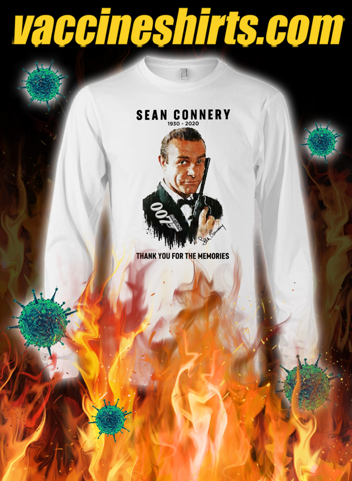 Sean connery 1930 2020 thank you for the memories longsleeve tee