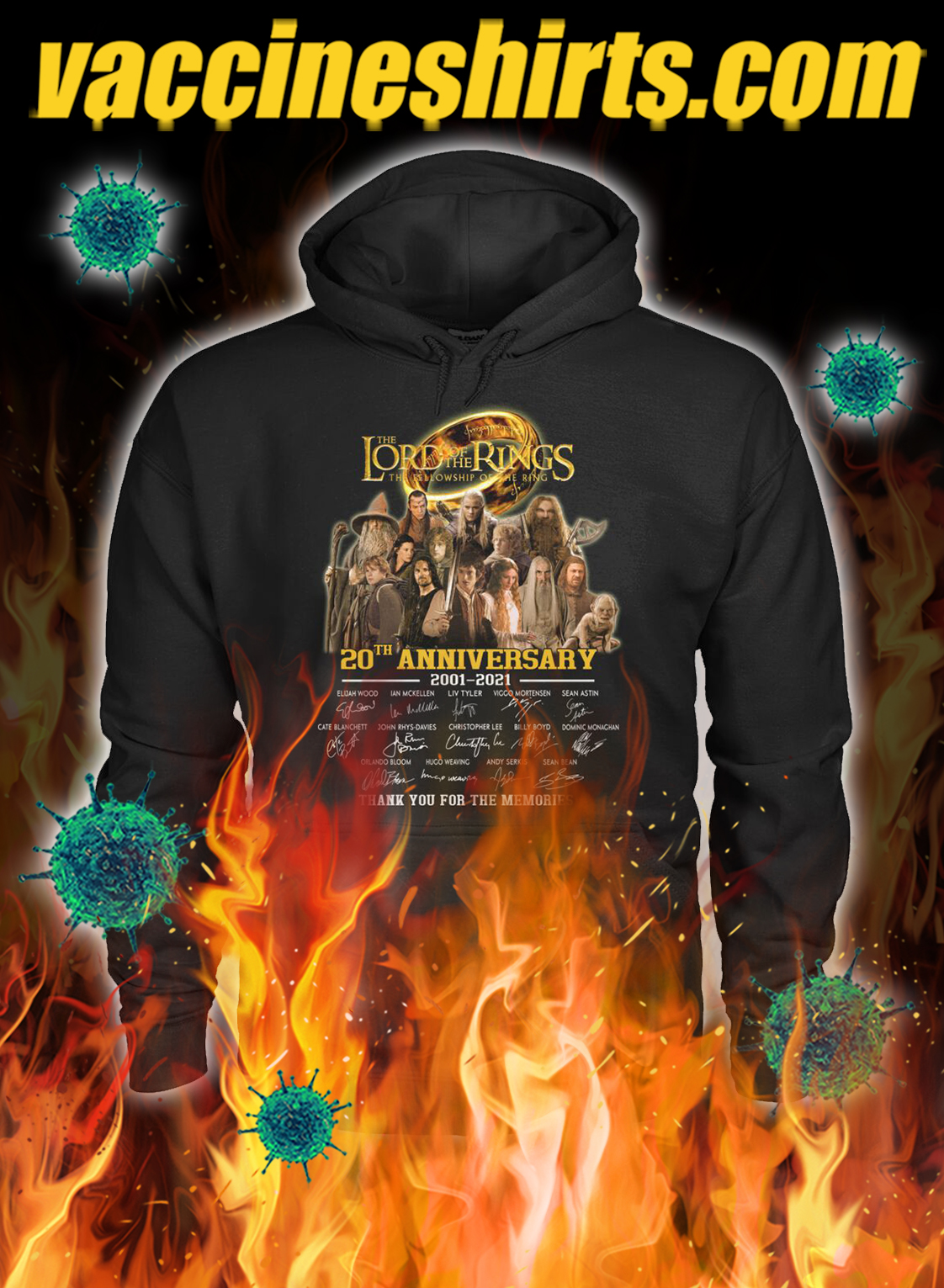 The lord of the rings 20th anniversary thank you for the memories hoodie