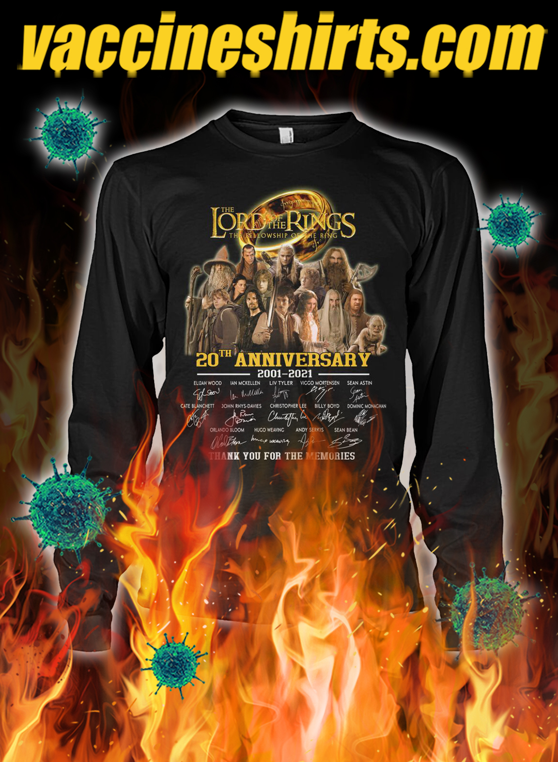 The lord of the rings 20th anniversary thank you for the memories longsleeve tee