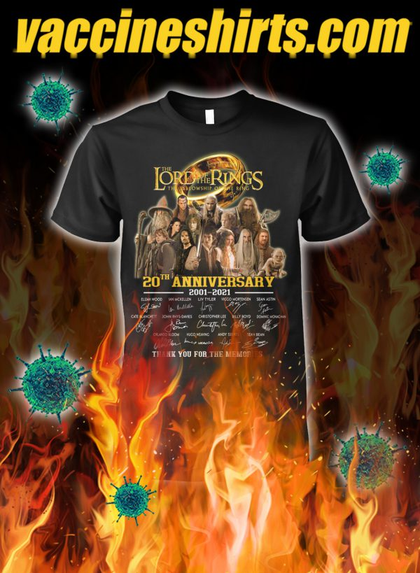 The lord of the rings 20th anniversary thank you for the memories shirt