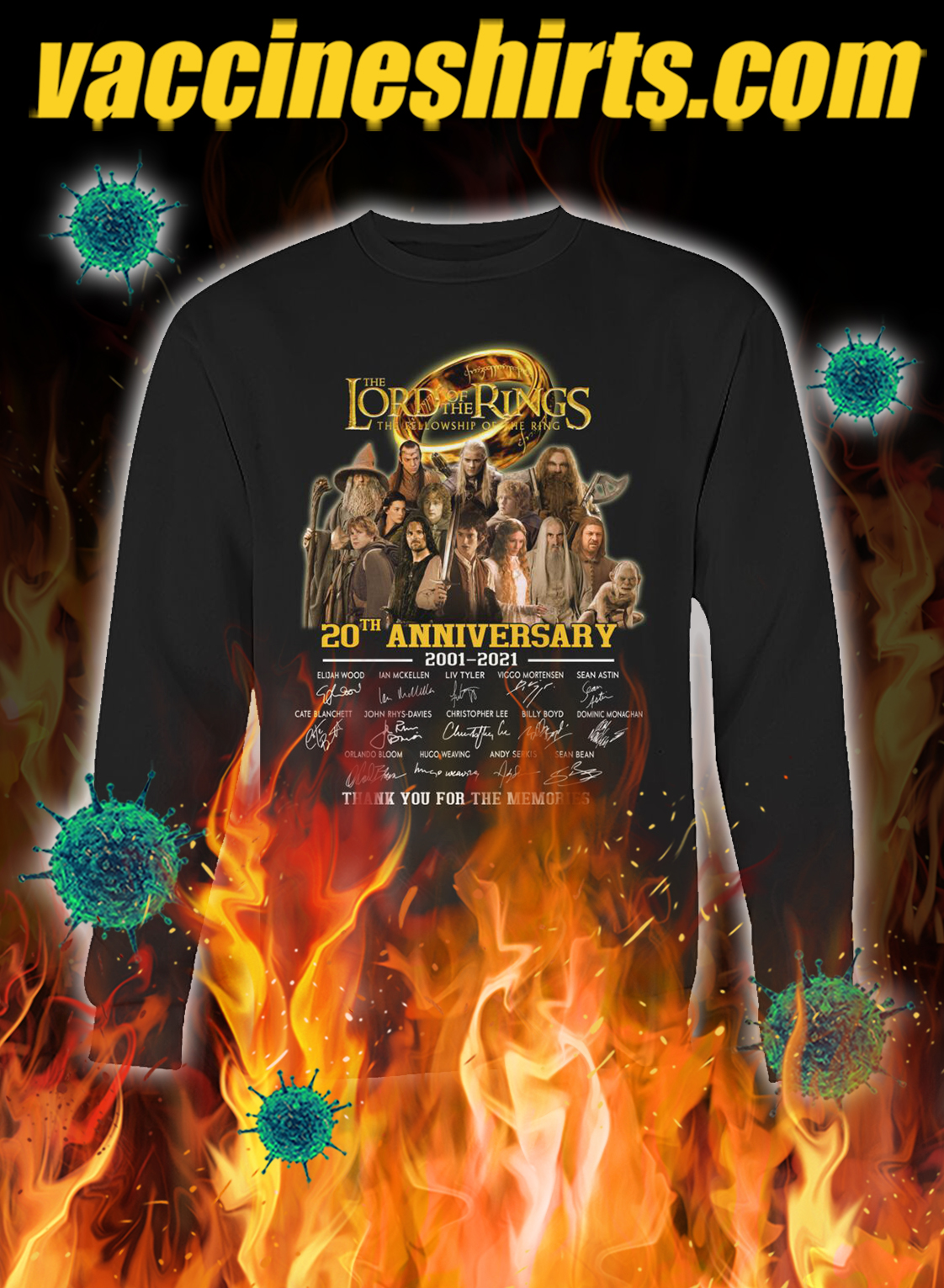The lord of the rings 20th anniversary thank you for the memories sweatshirt