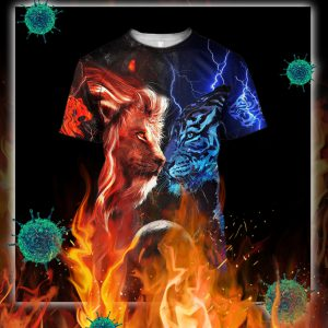 Tiger vs lion galaxy thunder 3d shirt