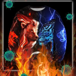 Tiger vs lion galaxy thunder 3d sweatshirt