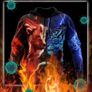 Tiger vs lion galaxy thunder 3d zip hoodie