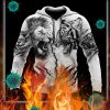 Tiger vs lion tattoo 3d hoodie