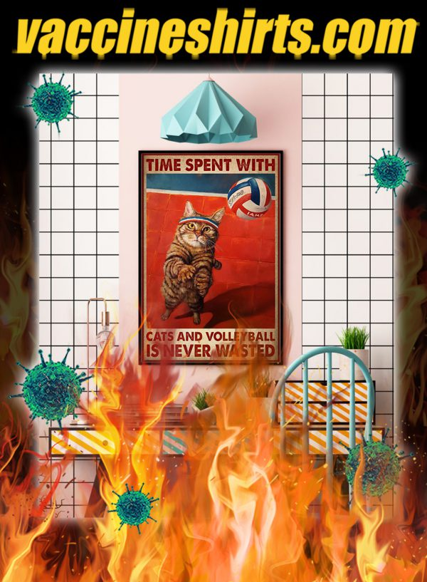 Time spent with cats and volleyball is never wasted poster- A4