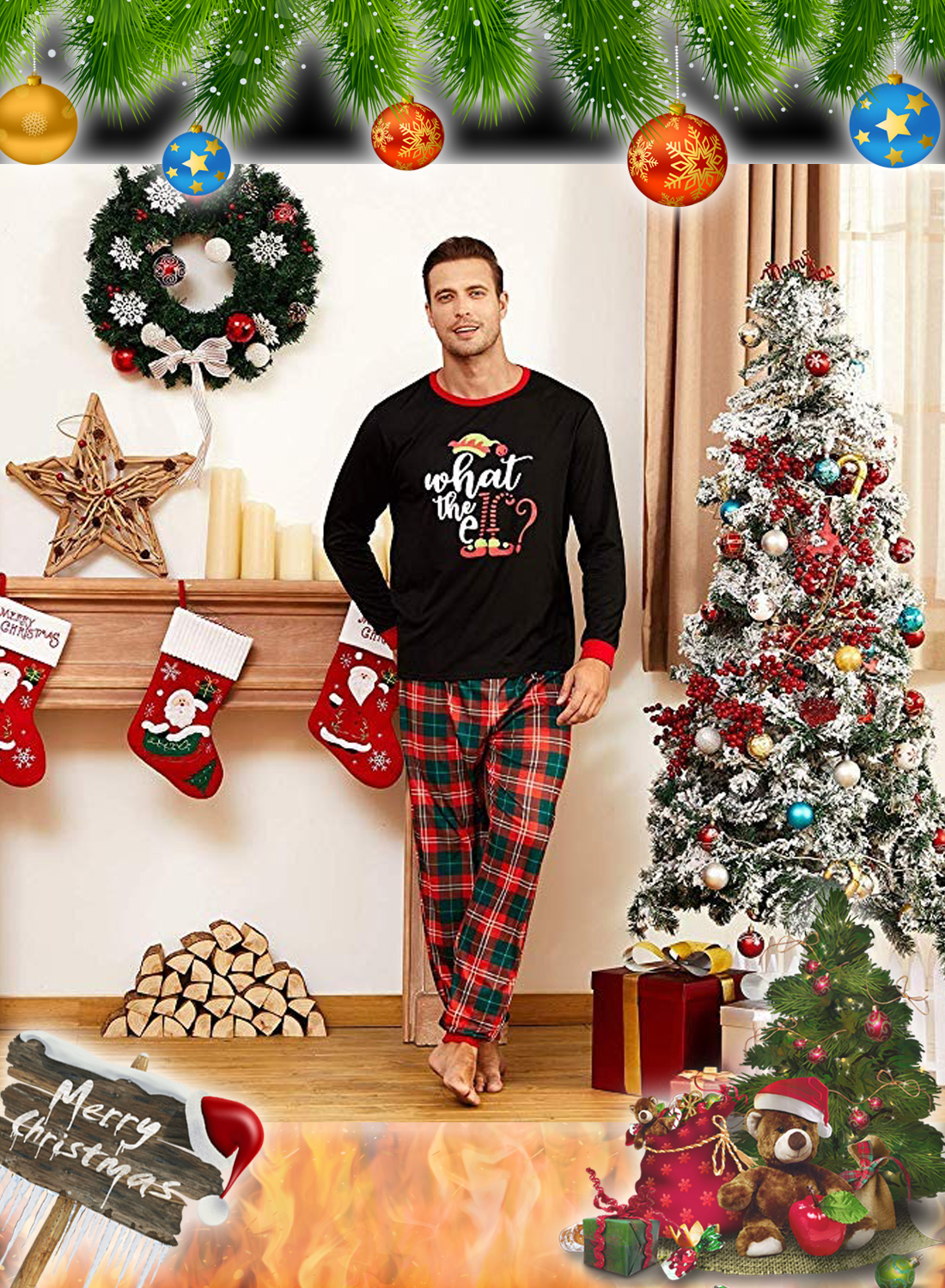What the Elf Plaid Christmas Family Matching Pajamas Sets 1