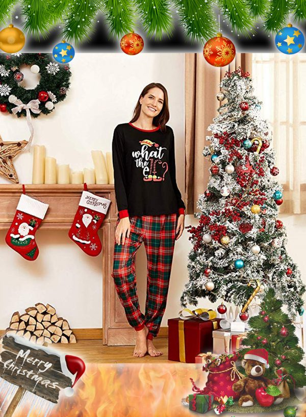 What the Elf Plaid Christmas Family Matching Pajamas Sets 2