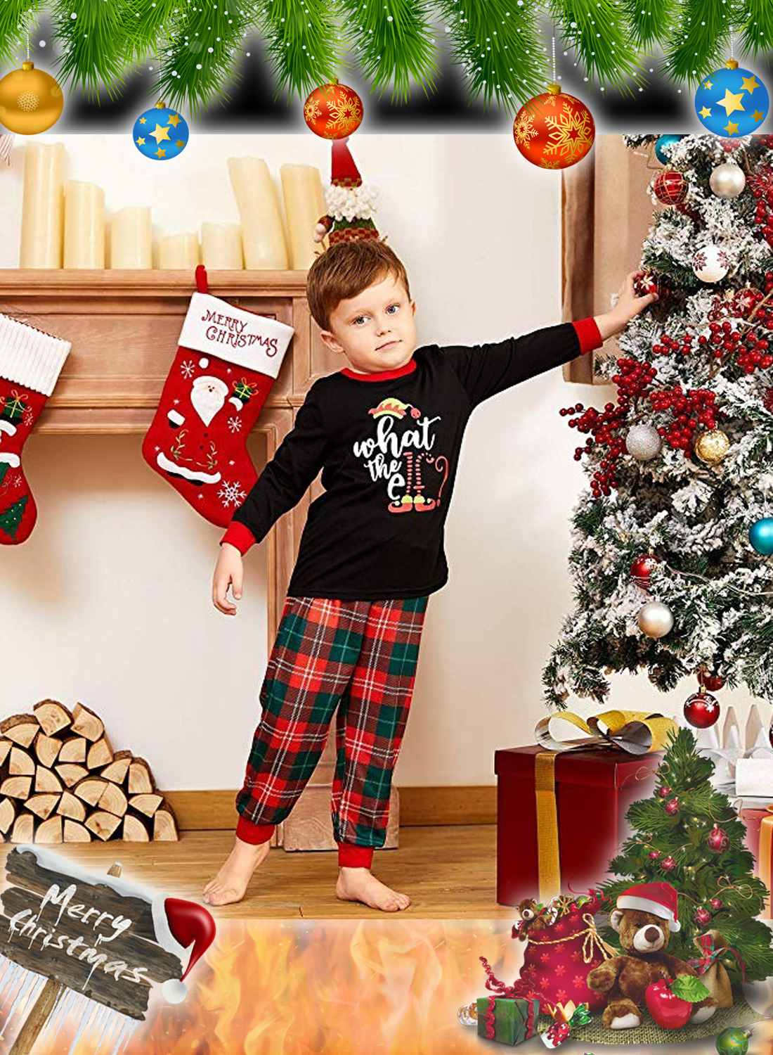 What the Elf Plaid Christmas Family Matching Pajamas Sets 3
