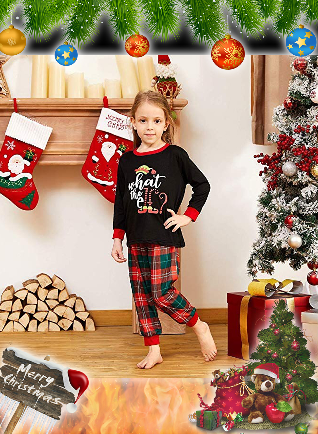 What the Elf Plaid Christmas Family Matching Pajamas Sets 4
