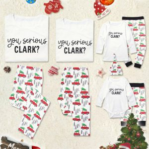 You Serious CLARK Letter Print Family Matching Pajamas Sets 1