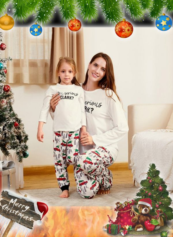 You Serious CLARK Letter Print Family Matching Pajamas Sets 2