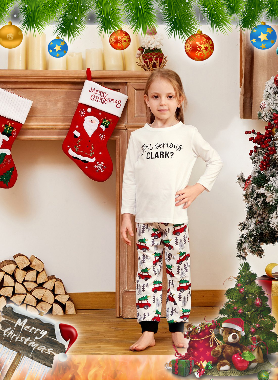 You Serious CLARK Letter Print Family Matching Pajamas Sets 3