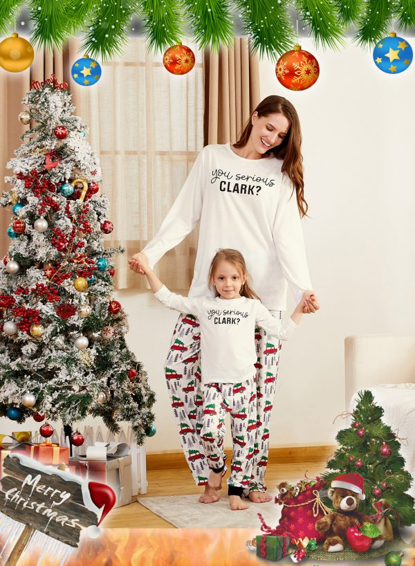 You Serious CLARK Letter Print Family Matching Pajamas Sets