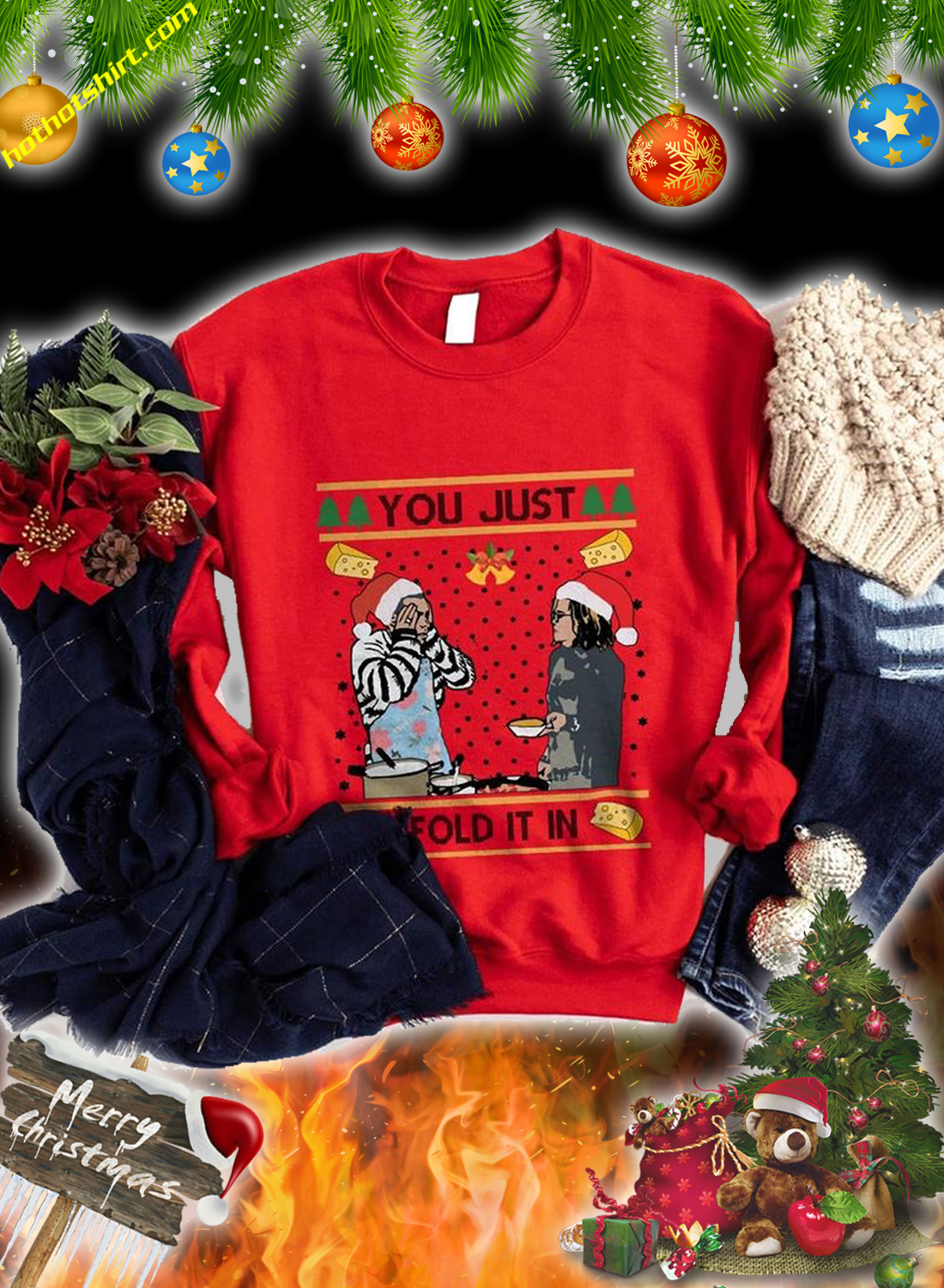 You just fold it in christmas sweatshirt and jumper 4