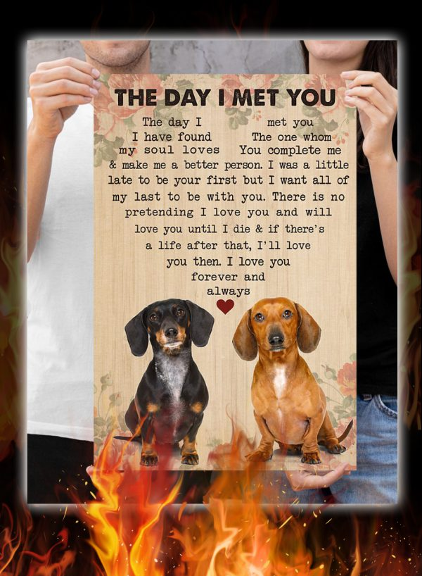 Dachshund Couple The Day I Met You Poster