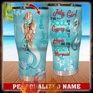 Personalized Custom Name July Girl Mermaid Tumbler 1