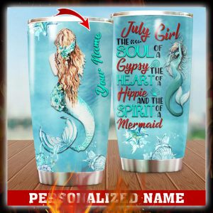 Personalized Custom Name July Girl Mermaid Tumbler