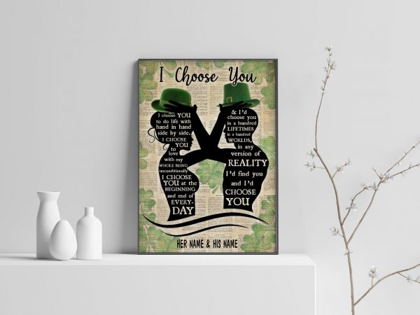 Irish Couple I Choose You Custom Name Poster