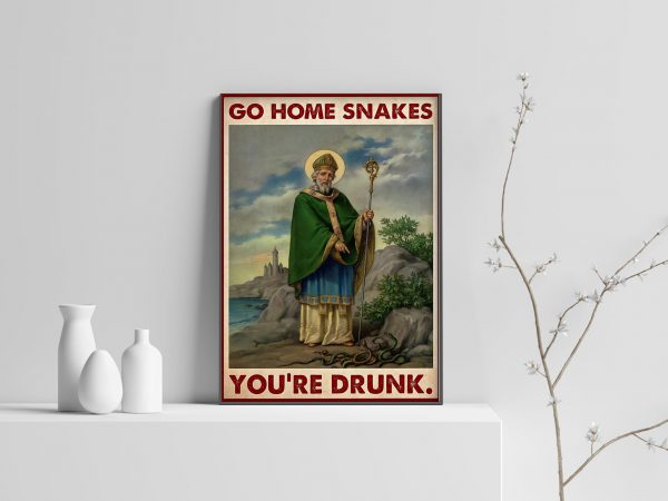 St Patrick Go Home Snake You're Drunk Poster