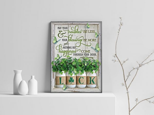 Irish blessing shamrock poster