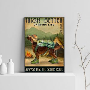 Irish Setter Camping Life Always Take The Scenic Route Poster