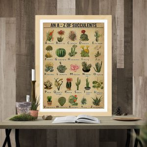 An A - Z Of Succulents vertical poster