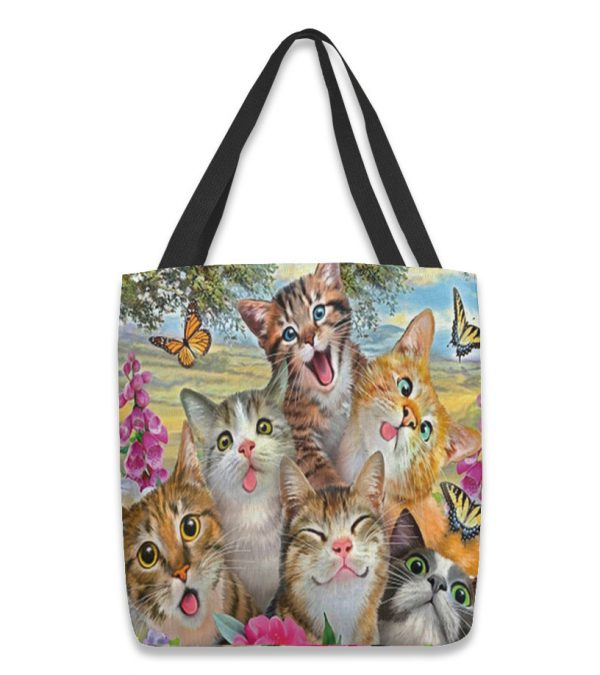 Cat all over prints tote bag