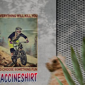 Girl mountain biking choose something fun poster