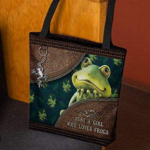 Just A girl who loves frog tote bag 1