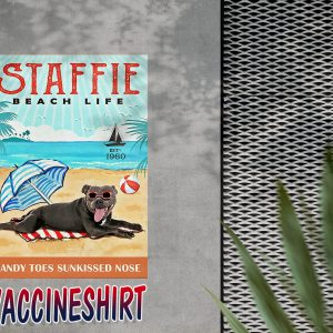 Staffordshire bull terrier dog beach life poster