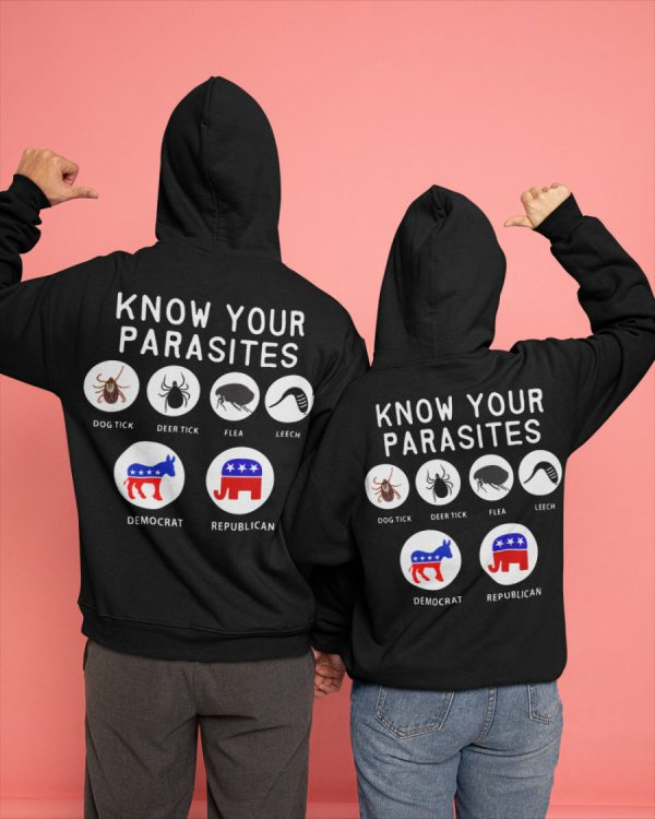 Know your parasites dog tick deer tick flea leech democrat republican shirt