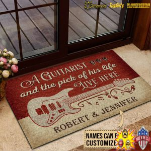 Personalized A guitarist and the pick of his life live here custom name doormat 3