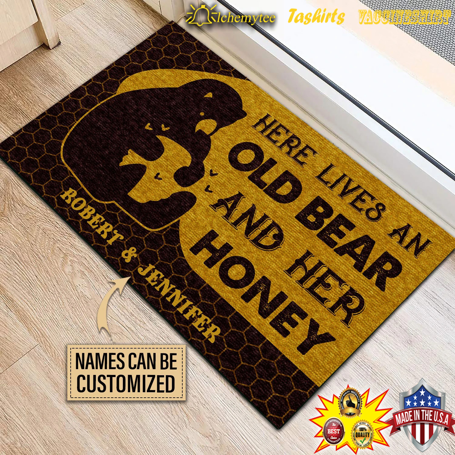 Personalized Bear And Her Honey Live Here Customized Doormat 3